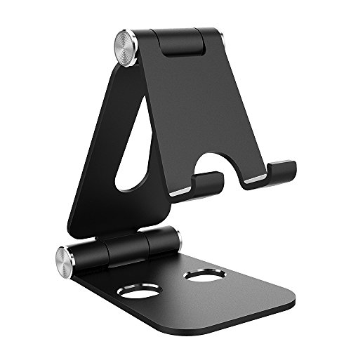 Simpeak Support Téléphone, Support Tablette, Réglage Multi-Angle Portable Support Dock Compatible pour Smartphone iPad Nintendo Switch, Aluminium - Noir