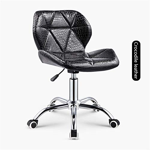Ljings Mid-Back Padded Chair for High Ergonomic Seating,Bar Stools Counter Height Adjustable Bar Chairs,with Foot Rest and Wheels,Black,Crocodile Leather