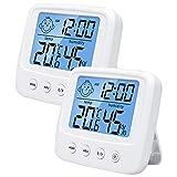 TUT Igrometro Termometro Digitale, Monitor Umidità da Interno, Temperatura Digitale Data con Display LCD 12/24 Ore Allarme, per Stanza da Bambino, Camera da Letto, Bagno, Magazzino