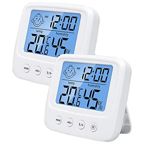Higrómetro interior con reloj, 2 unidades, higrómetro digital, termómetro interior, medidor de humedad con alta precisión, para interior, salón, oficina
