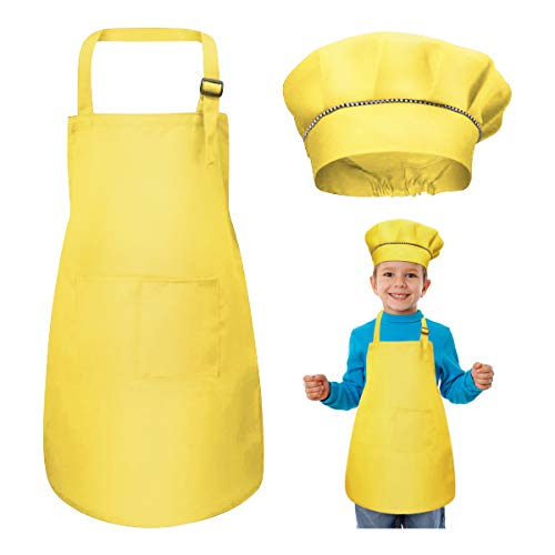 Bambini Grembiule e Cappello da Cuoco Set, Regolabile Bambino Grembiule da Cucina con 2 Tasche per Ragazze Ragazzi, Grembiuli da Chef per Cucinare Cottura Pittura Artigianato (7-13 Anni) (Giallo)