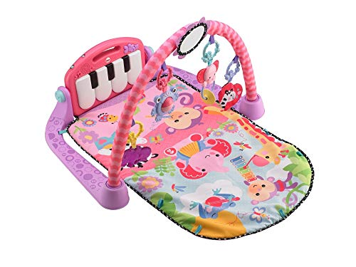 Fisher-Price Kick and Piano Gym New-born Baby Play Mat Suitable from Birth Includes Activity Ce Kick & Play Pink, color multicolor (rosa), 67.8 x 45.5 x 8.1 (Mattel BMH48)