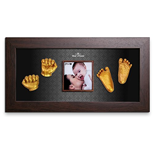 Momspresent Baby Hand Print and Foot Print Deluxe Casting kit with Brown Frame10