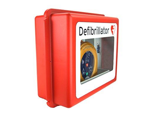 MedX5 (Upgrade 2019) Defibrillator Wandkasten für alle AED Herstellermarken, mit akustischem Alarm, für Innen und Aussenbereiche, Made in Germany! 5 Jahre Garantie