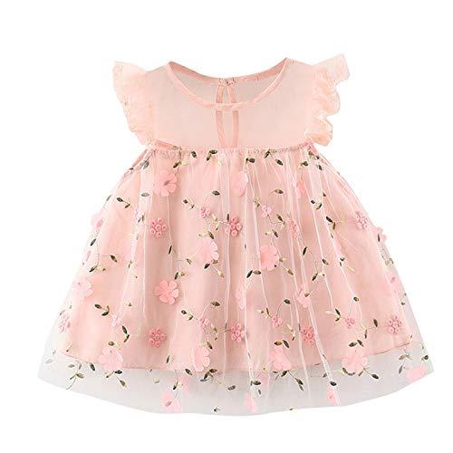 Vestido de niña sin mangas con estampado de princesa, tiempo libre, hasta la rodilla, vestido de niña pequeño, informal, rock, de 1 a 6 años, para verano, vestido de novia sin mangas rosa 2-3 Años