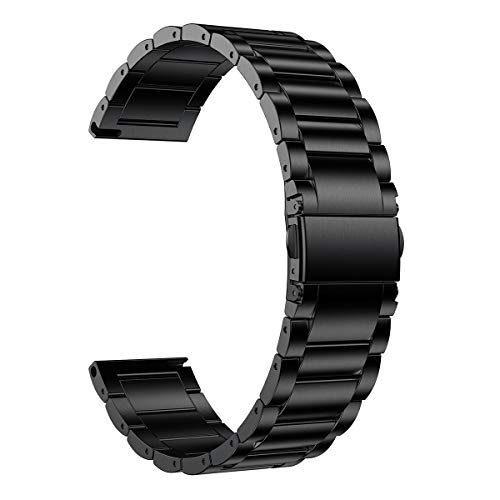 LDFAS Compatible for Fossil 22mm Band, Stainless Steel Metal Strap Compatible for Fossil Gen 5 Carlyle/Julianna/Garrett HR, Q Explorist HR Gen 4/3, Sport 43mm, Gen 5E 44mm Smartwatch, Black