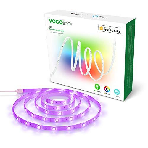 HomeKit LED Strip Lichtband Streifen VOCOlinc Smart WLAN LED Lichtstreifen 200cm Mehrfarbig 5 Lichteffekte Kompatibel mit HomeKit Alexa Google Assistant 2,4 GHz (Starter-Kit) (LS2)