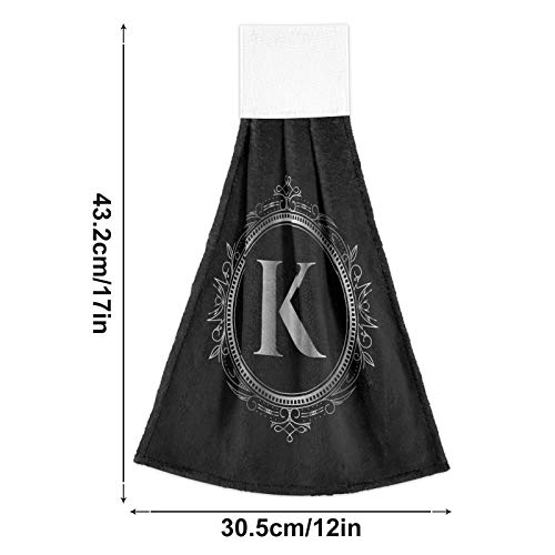 Oyihfvs Custom Monogram Initial Letter K 2 Pcs Hanging Kitchen Hand Towels, Hanging Tie Towels with Hook