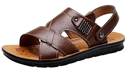 Vocni Men's Open Toe Casual Leather Comfort Shoes Sandals Large Size -Brown EU 46-12D(M) US