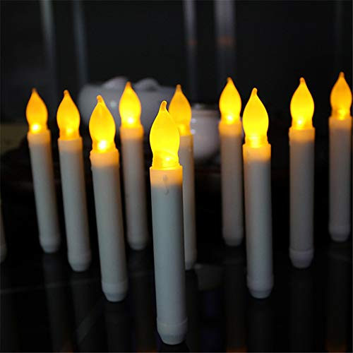 12er Set LED Tafelkerzen Stabkerzen Echtwachs in weiß LED warmweiß 2.0cm*16.5cm