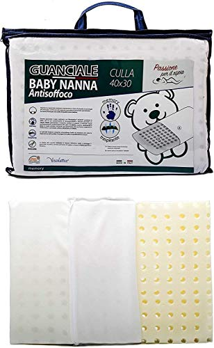 Cuscino Antisoffoco Neonato (100% MEMORY FOAM e MADE IN ITALY) - Cuscino per Bambini Taglia 40x30 Cm - Cuscino Ideale per Culla, Lettino e Carrozzina