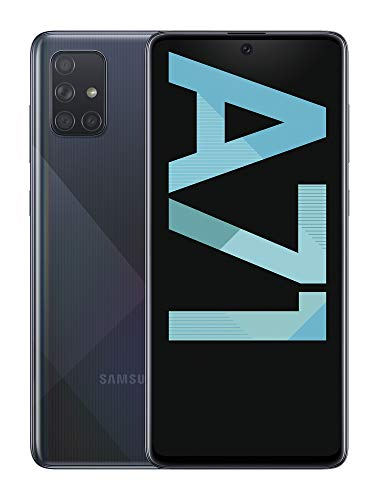 "Samsung Galaxy A71 - Smartphone de 6.7""FHD+ (4G, Dual SIM, 6 GB RAM,128 GB ROM, cámara trasera 64.0 MP+12.0 MP (UW)+5.0 MP (Macro)+5 MP, cámara frontal 32 MP) Negro []"