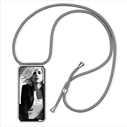 YuhooTech Handykette Kompatibel mit iPhone 7/ iPhone 8/ iPhone SE 2020, Smartphone Necklace Hülle mit Band - Handyhülle mit Kordel Umhängenband - Schnur mit Hülle zum umhängen in Grau