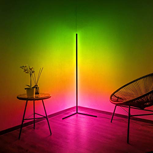 LOEFME Corner Floor Lamp Modern Minimalist Nordic Decoration Home Floor Lamps RGB Color Changing Dimming Standing Lamp for Living Room Night Light Gaming Room Living Room Bed Room with Remote Control