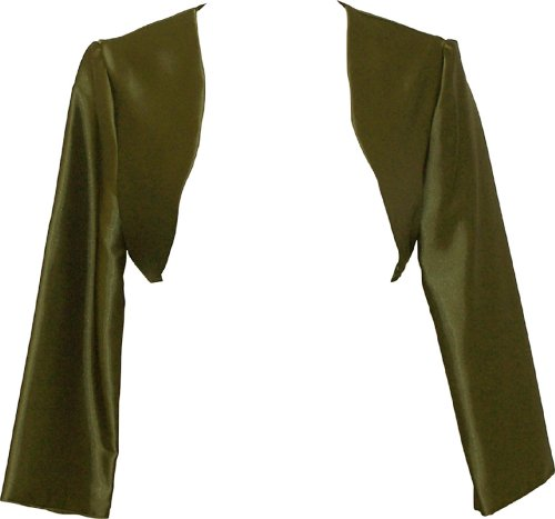 PacificPlex Satin Bolero Jacket Cover-Up Formal Prom Bridesmaid Junior Plus Size, 3X, Olive
