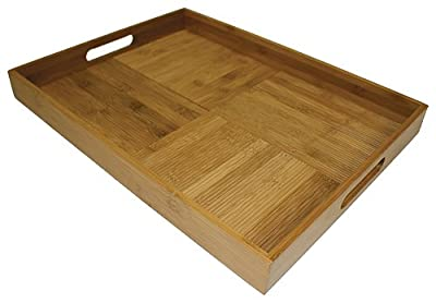 Large Bamboo Ribbed Serving Tray