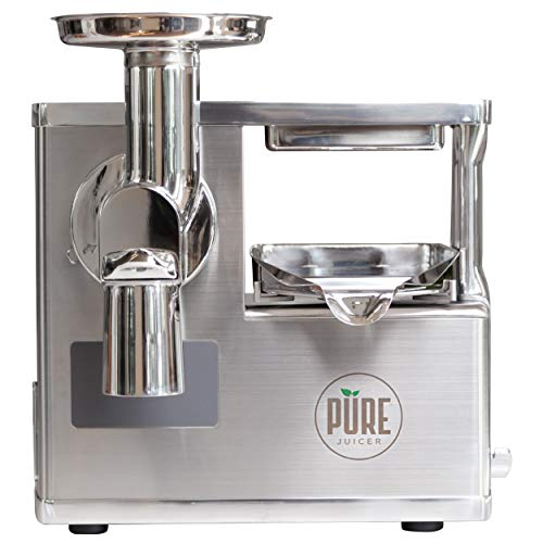 PURE Juicer Two-Stage Masticating Juicer | Grinder and Hydraulic Press for True Cold Press Juices | For Green Juice, Pineapple Juice, Apple Juice, and Immune Booster Shots | Health in Your Hands Set
