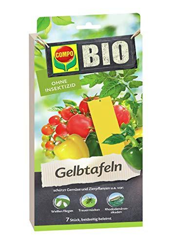 COMPO BIO Gelbtafeln, Leimfalle, Inklusive Aufhänger, Insektizid-frei, Je 7 Stück