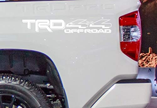 Coza 4 x 4 Decal Sticker Compatible with TRD Tacoma Tundra or Any Toyota Truck Pair Set of 2 White Matte