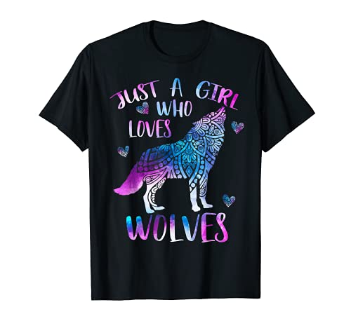 Just a Girl Who Loves Wolves Lover Watercolor Wolf Ornament T-Shirt