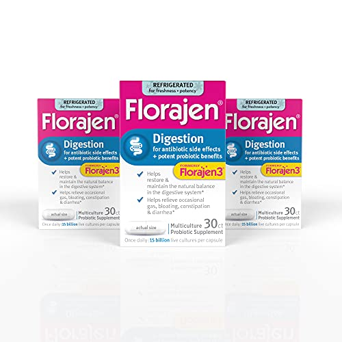 Florajen3 Digestion High Potency Refrigerated Probiotics | Restores Balance in Digestive System | for Antibiotic Side Effects | 30 Count (Pack of 3) Capsules