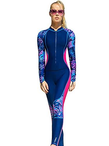 Aivtalk Traje de Buceo Mujer Manga Larga Transpirable Traje de Surf Protección Solar Traje de Baño para Esnórquel Natación Rojo XL