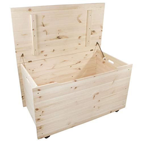 Extra Large Wooden Decorative Storage Chest with Hinged Lid on Wheels | 90x48x51 cm | Toy Box Kids Bedroom Ottoman Trunk | Unpainted Plain Unfinished Pine To Decorate for Craft | Bedding Storage