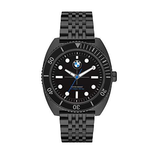 BMW Motorsport Reloj de Cuarzo para Hombre con Correa de Acero Inoxidable | Resistente al Agua 10 ATM (Negro)