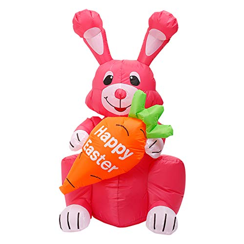 ZWSM Easter Inflatable Bunny, Build-In Leds Blow Up Inflatables Yard Decoration for Outdoor Indoor Holiday Decorations Lawn Home Family outside Art Decor