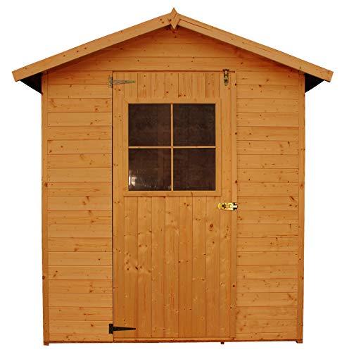 TIMBELA Gartenhaus aus Holz - Holz imprägniert - Lagerraum mit Boden - H216 x 198 x 149 cm / 2,1 m2 Naturholz Shiplap-Schuppen - Fahrradwerkzeugschuppen M301I