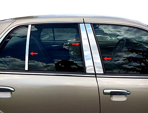 Made in USA! Compatible with 1992-2011 Mercury Grand Marquis 6PC Stainless Steel Pillar Post Trim