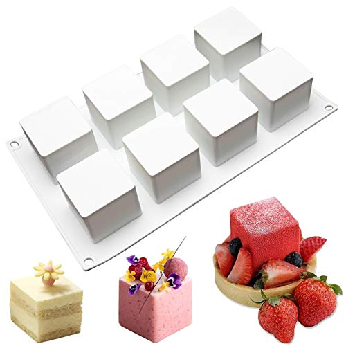 Square Silicone Molds for Baking Square Mousse Cake, 3D Silicone Baking Molds for Cakes French Dessert Mold for Pastry Chocolate Brownie Ice Cream Pudding Mold, 3D Cube Shape (8-Cavity)