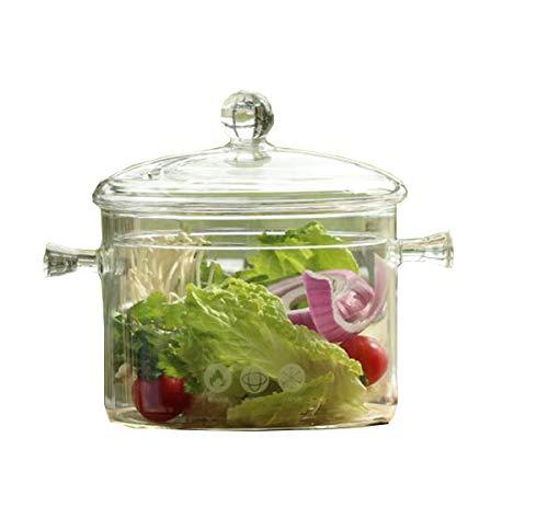 Huaishu glazen vaas voor keuken en fornuis, transparant, magnetron, vaatwasserbestendig, veiligheid 1,3 l / 1 l