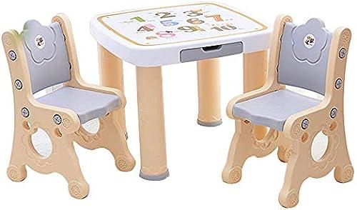 [1 Tisch 2 Stuhlgarnitur] ABC Alphabet Kinderarbeitstisch Esstisch, Kinderplastikstuhl