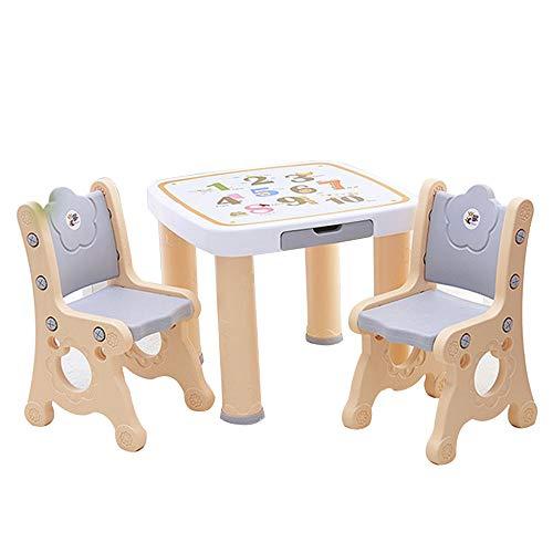 [1 Table 2 Chaises] Table D'éTude/Table à Manger pour Enfants Alphabet ABC, Chaise en Plastique pour Enfants