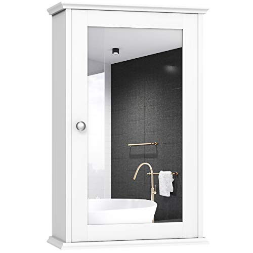 TANGKULA Mirrored Bathroom Cabinet, Wall Mount Storage Cabinet with Single Door, Bathroom Medicine Cabinet, White