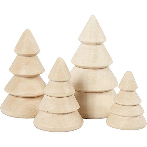 Weihnachtsbäume aus Holz, H: 3,3 + 4,3 + 5,3 + 6,3 cm), D: 2,3 + 3 + 3,2 + 4 cm, Empress-Holz, 4 Stück