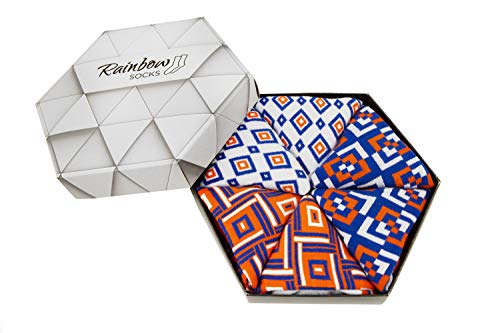 Rainbow Socks - Mujer Hombre Regalo Caja de Calcetines Geométricos - 3 Pares