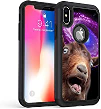 iPhone Xs Case,iPhone X Case,Rossy Heavy Duty Hybrid TPU Plastic Dual Layer Armor Defender Protection Case Cover for Apple iPhone X/Xs 5.8 Inch,Funny Space Goat Meme