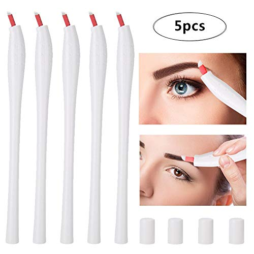 Salmue 5pcs Stylo jetable de Tatouage, Stylo Manuel en Plastique de Microblading avec Capuchon pour Le Maquillage Permanent Outil de Maquillage de sourcil de Tatouage Microblading(12F)
