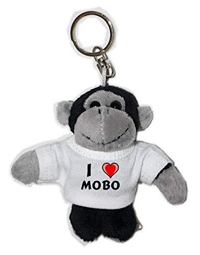 Mono de peluche (llavero) con Amo Mobo en la camiseta (nombre de pila/apellido/apodo)