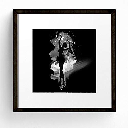 Geiqianjiumai Acuarela Danza Bailarina Arte de la Pared Cartel Pintura al óleo en Blanco y Negro Pintura sin Marco 70X70cm