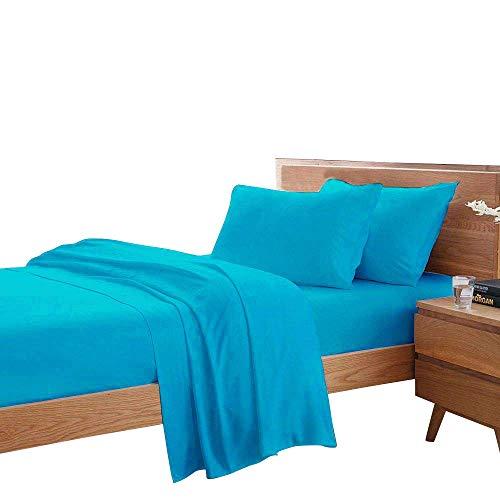 Misr Lin 400 Fils 100% Coton égyptien 20 cm Poche Profonde de Feuille, Lot de 4, Coton, Bleu Turquoise, Super King