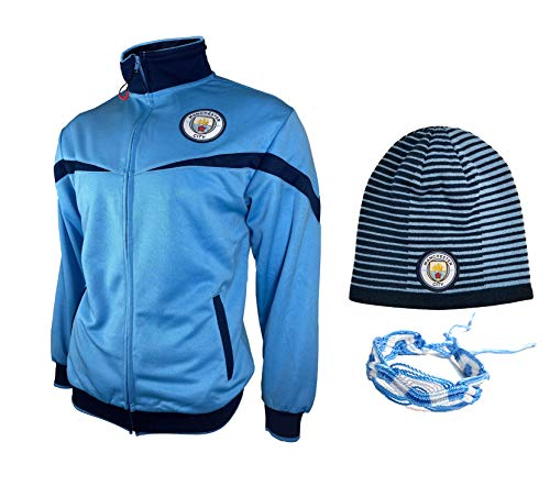 Manchester City Jacket Beanie Reversible hat and Bracelets for Mens Adults Winter Soccer New Season Official Licensed Set MC016 (Sky Blue 2, XL)