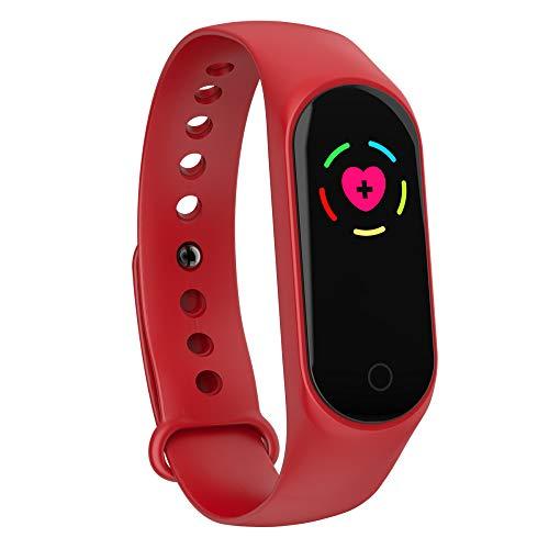 FOUR Misuratore di Frequenza Cardiaca, Fitness Tracker Pressione Arteriosa Polso Misuratore Sport Bracciale Smart Reminder (Rosso)