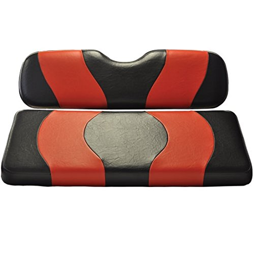 Madjax 10-002 Wave Black/Red Two-Tone Front Seat Covers Will Fit Club Car DS Golf Carts