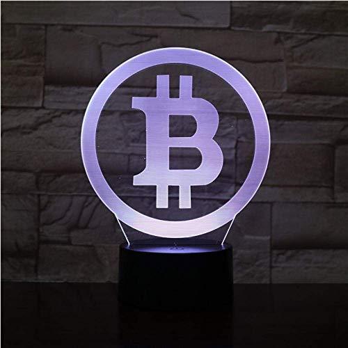 Nachtlicht 3d led lampe bitcoin nachtlicht beleuchtung schlafzimmer schreibtisch schlafzimmer seite dekoration netto geschenk fans geburtstagsgeschenke display birne