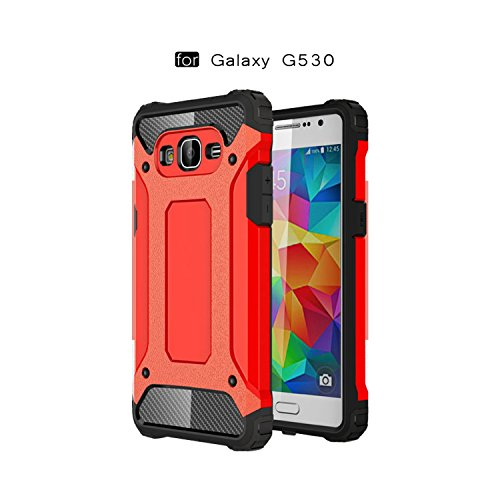 Ycloud Funda para Samsung Galaxy Grand Prime G530 Doble Capa Híbrida Armor Silicona TPU + PC Case Shock-Absorción Armadura Rojo Carcasa para Samsung Galaxy Grand Prime G5308