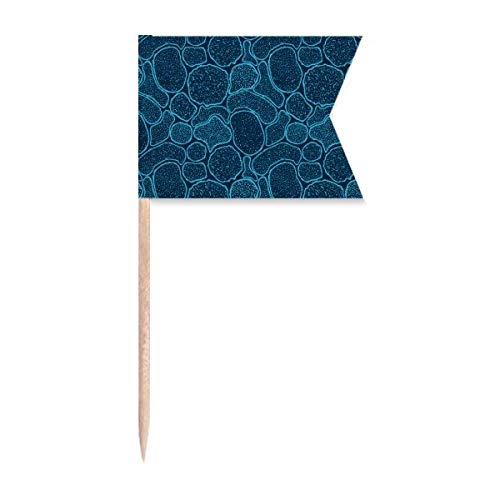 Blue Microscope Cells Structure Illustration Toothpick Flags Labeling Marking for Party Cake Food Cheeseplate