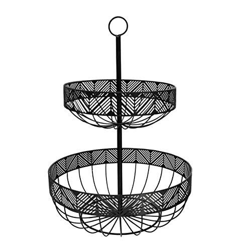 Hogar y Mas Frutero 2 Pisos Metal en Color Negro, Cestas Almacenamiento Alimentos 30x42 cm